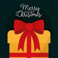 merry christmas gift with bow vector design