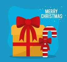 merry christmas gift and candy cane vector design