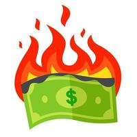 the burning dollar bill burns out. a waste of money. flat vector illustration.