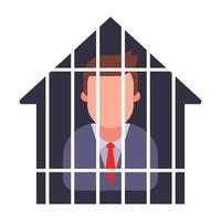 house arrest of a man in a suit. quarantine a person. flat vector illustration.
