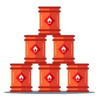 pirámide de almacenamiento de barriles de hierro. almacenamiento de sustancias inflamables. ilustración vectorial plana vector