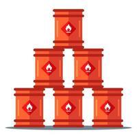 iron barrels storage pyramid. storage of flammable substances. flat vector illustration