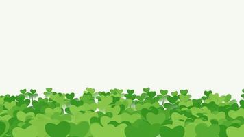 animação fundo de feriado do dia de São Patrício com trevos verdes de movimento