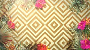 närbild tropiska blommor och blad, sommarbakgrund