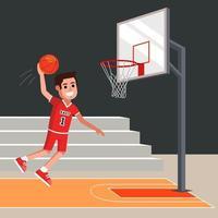 jugador de baloncesto lanza una pelota naranja en la canasta. Ilustración de vector de personaje plano.