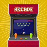 Retro arcade slot machine with pixel game. flat vector illustration.
