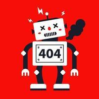 el robot se rompió y humeó. carácter para la página web 404. Ilustración de vector de personaje plano.