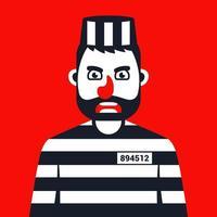 criminal enojado en uniforme de rayas de prisión. Ilustración de vector de personaje plano.