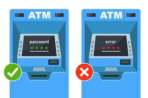 enter the correct and incorrect password at the ATM. flat vector illustration.
