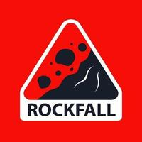 triangular rockfall sign on a red background. flat vector illustration.