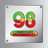Ilustración de diseño de plantilla de vector de aniversario de 98 años