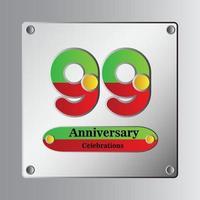 Ilustración de diseño de plantilla de vector de aniversario de 99 años
