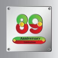 Ilustración de diseño de plantilla de vector de aniversario de 89 años