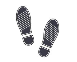 icon black footprints from shoes on the ground. flat vector illustration.