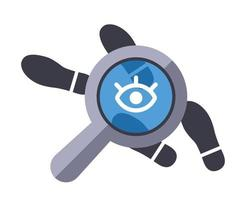 track the traces of the criminal with a magnifying glass. flat vector illustration