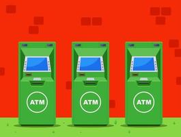 several green ATMs on the street. flat vector illustration.