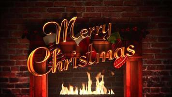 lareira closeup animado, presentes nas meias de natal e texto de feliz natal em tijolos
