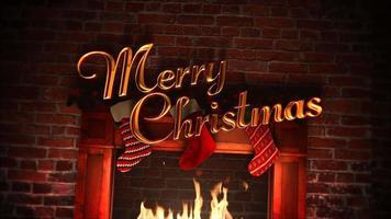 animierte Nahaufnahme Kamin, Geschenke in den Weihnachtssocken und frohe Weihnachten
