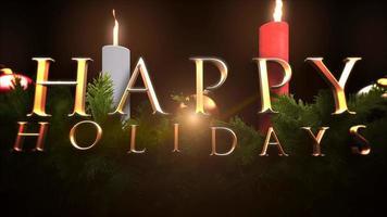 texto animado de boas festas em closeup, galhos de árvores verdes e velas