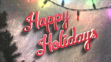 animerad närbild glad semester text, färgglada krans och julgröna träd video