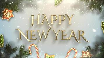 geanimeerde tekst van het close-up gelukkige nieuwe jaar, groene boomtakken en speelgoed op sneeuwachtergrond