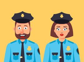 male and female policemen are standing together. nice security guard. flat character vector illustration