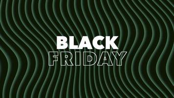 texto de introdução de animação black friday sobre fundo de moda negra e minimalismo com ondas verdes geométricas