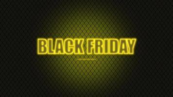 Animación texto de introducción viernes negro sobre fondo de moda y club con rejilla amarilla brillante video