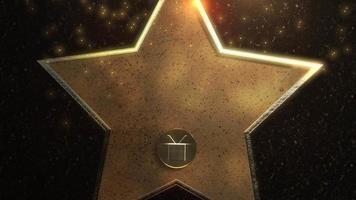 beweging gouden ster, abstracte achtergrond video
