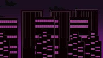 abstracte cartoon stadsgezicht animatie achtergrond met beweging wolken en gebouwen, video