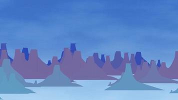 fundo de animação de desenho animado com montanha e nuvens, pano de fundo abstrato