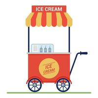 red cart with ice cream on the street. small business. flat vector illustration.