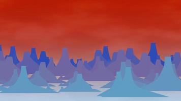 tecknad animation bakgrund med berg och moln, abstrakt bakgrund