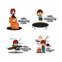 Happy Childrens Day Design set vector