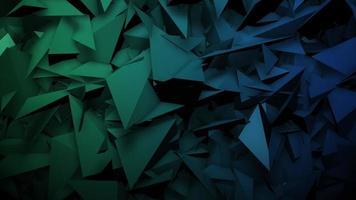 beweging donkergroene driehoeken vormen, abstracte geometrische achtergrond