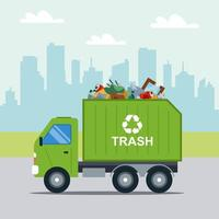 transportation of municipal waste in a municipal green truck. flat vector illustration
