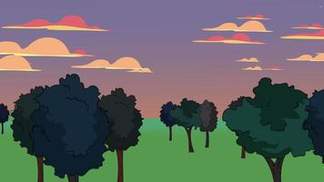 fundo de animação de desenho animado com floresta e montanha, pano de fundo abstrato