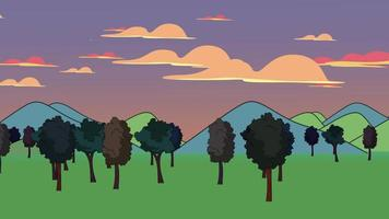 tecknad animation bakgrund med skog och berg, abstrakt bakgrund