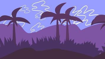 fundo de animação de desenho animado com palmas na montanha, pano de fundo abstrato