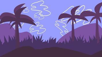 tecknad animation bakgrund med palmer i berg, abstrakt bakgrund