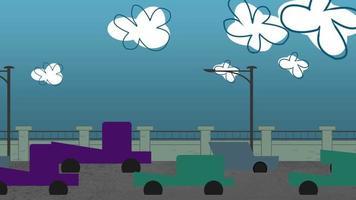 Fondo de animación de dibujos animados con nubes de movimiento y coches en la carretera, telón de fondo de paisaje urbano abstracto