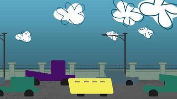 fundo de animação de desenho animado com nuvens de movimento e carros na estrada, cenário abstrato da cidade
