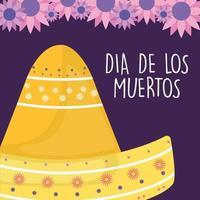 sombrero mexicano del día de los muertos con diseño de vector de flores