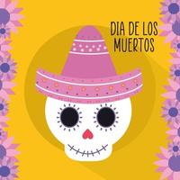 Mexican day of the dead skull with sombrero hat and flowers vector design