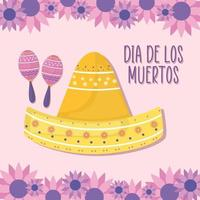 Mexican day of the dead maracas and sombrero hat with flowers vector design