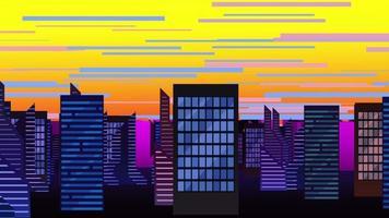 fundo de animação de desenho animado com nuvens de movimento e edifícios, pano de fundo abstrato da cidade