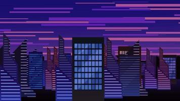 cartoon animatie achtergrond met beweging wolken en gebouwen, abstracte stadsgezicht achtergrond video