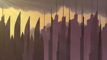 Fondo de animación de dibujos animados con nubes de movimiento y edificios, telón de fondo de paisaje urbano abstracto