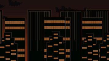 tecknad animering bakgrund med rörelse moln och byggnader, abstrakt stadsbild bakgrund
