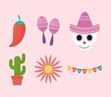 Mexican day of the dead symbol set vector design
